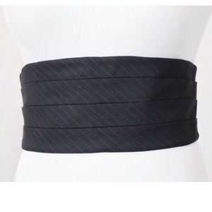 Escada Navy and Grey Pinstripe Fabric Belt Small